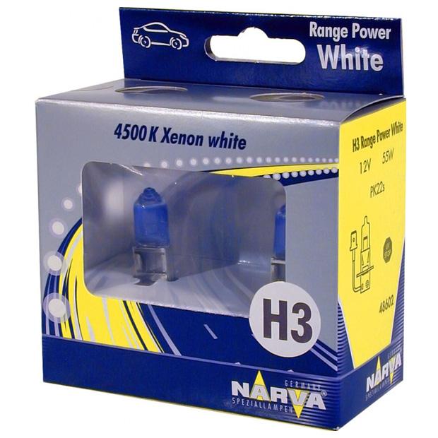 Лампа галогенная Narva H3 Range Power White 2 шт