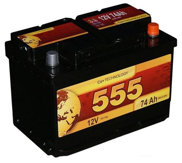 Аккумулятор 555 6СТ-74-А3 R (74 А/ч)