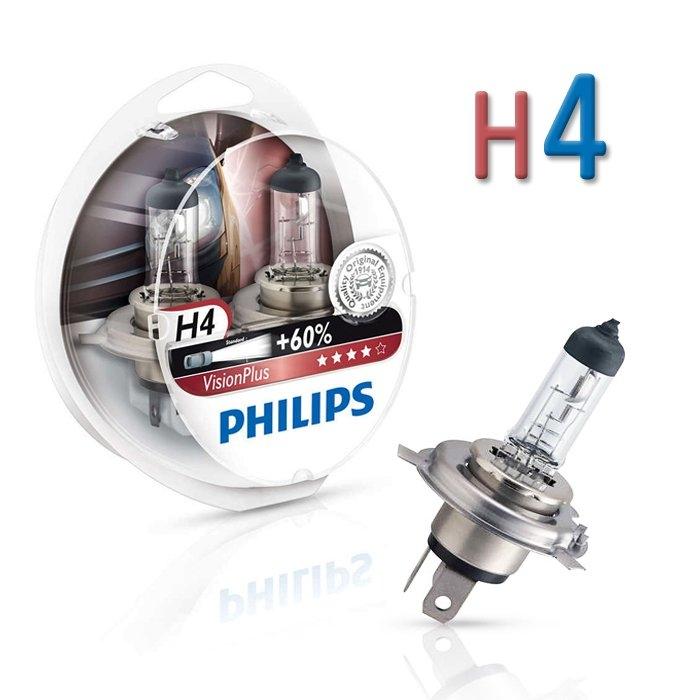 Лампа галогенная Philips H4 VisionPlus 2шт