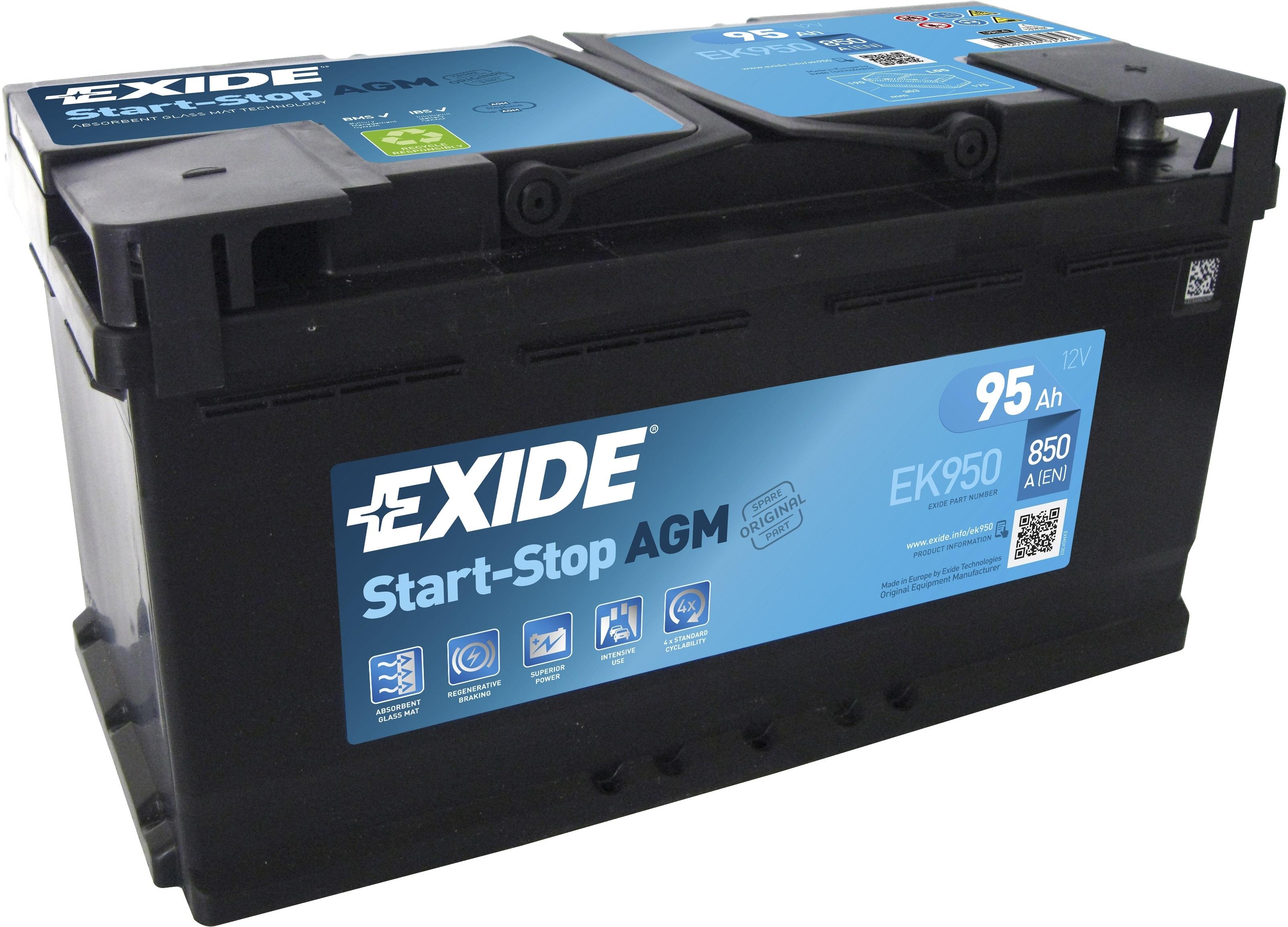 Аккумулятор Exide Start-Stop AGM  EK950 (95 А/ч)