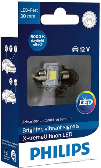 Лампа светодиодная Philips C5W X-tremeUltinon LED 1шт