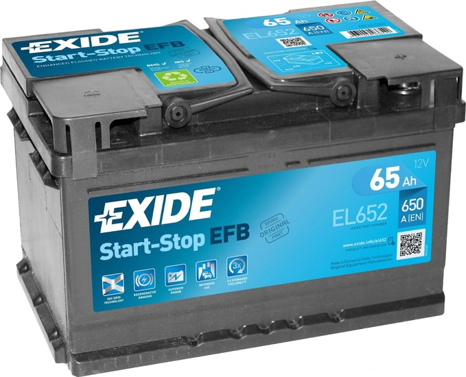 Аккумулятор Exide Start-Stop EFB EL652 (65 А·ч)