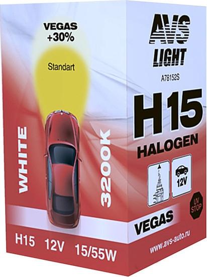 Лампа галогенная AVS Vegas H15 12V 15/55W 1шт [A78152S]