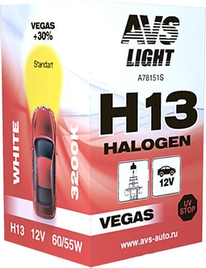 Лампа галогенная AVS Vegas H13 12V 60/55W 1шт [A78151S]