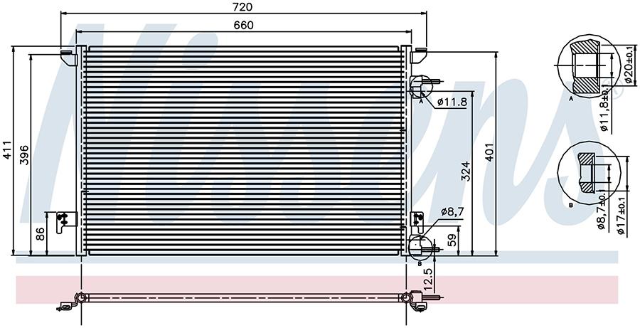 Радиатор кондиционера 94598 Nissens