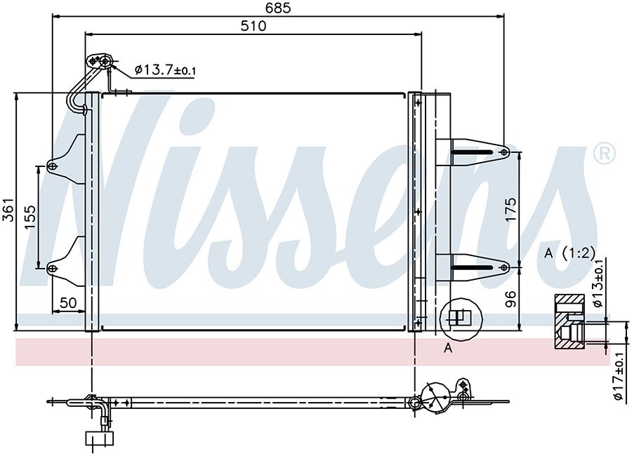 Радиатор кондиционера 94628 Nissens