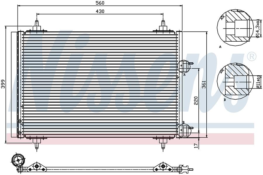 Радиатор кондиционера 94570 Nissens