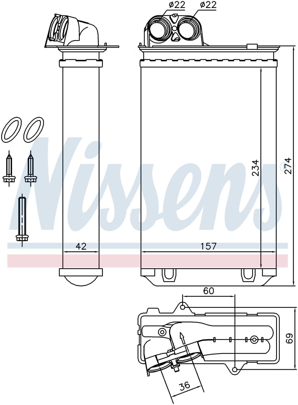 Радиатор печки NISSENS 71152