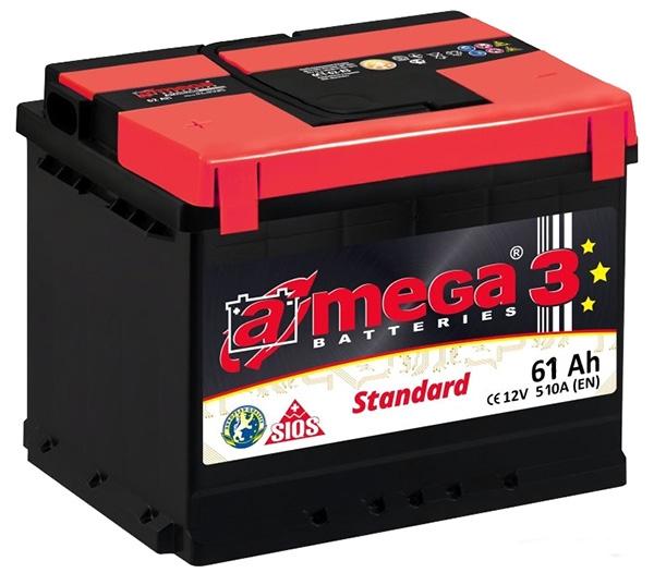 Аккумулятор A-mega Standard 61 R низкая (61 А·ч)