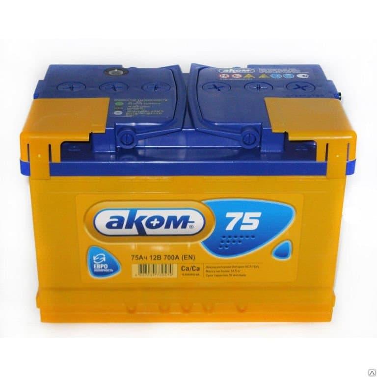 Аккумулятор Аком 6СТ-75 Евро (75 А/ч)