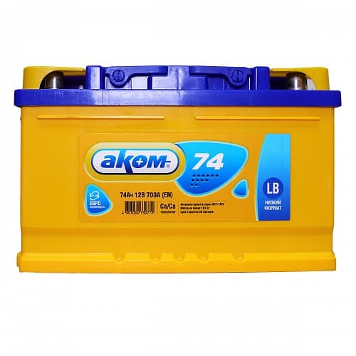 Аккумулятор Аком 6СТ-74 Евро (низкий) (74 А/ч)