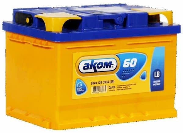 Аккумулятор AKOM 6СТ-60 Евро (низкий)