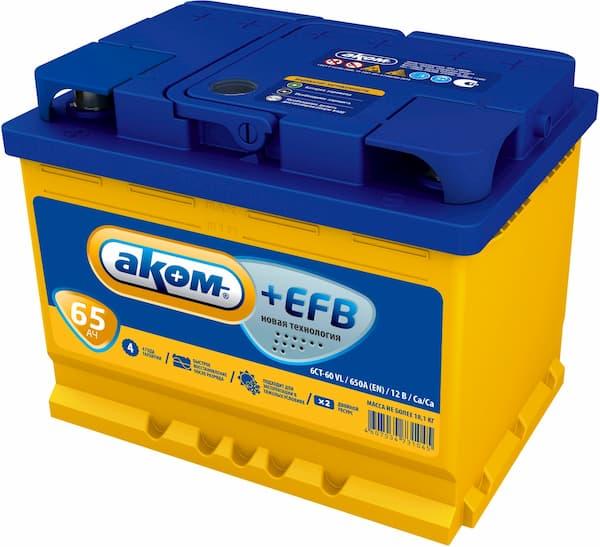 Аккумулятор AKOM +EFB 65 (65 А·ч)