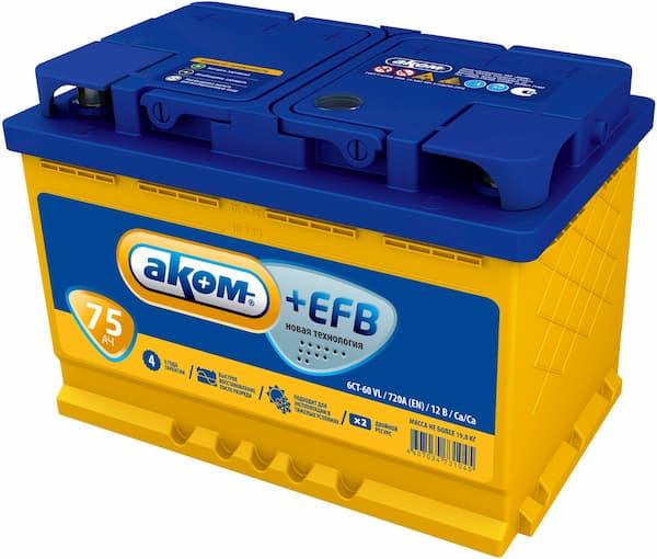 Аккумулятор AKOM 6СТ-75 Евро+EFB (75 А·ч)