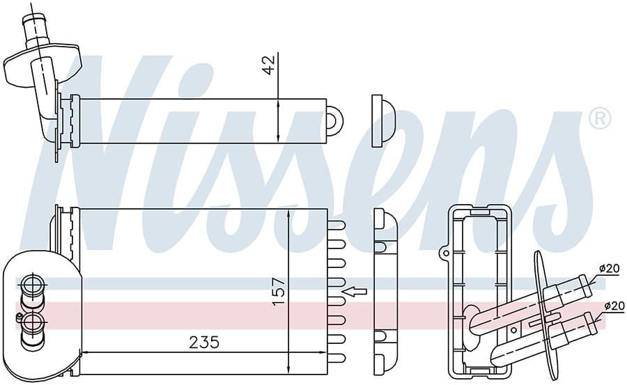 Радиатор отопителя 73977 Nissens