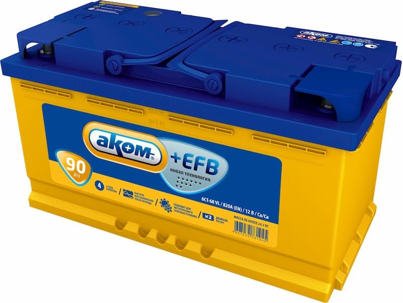 Аккумулятор AKOM 6СТ-90 Евро+EFB (90 А·ч)