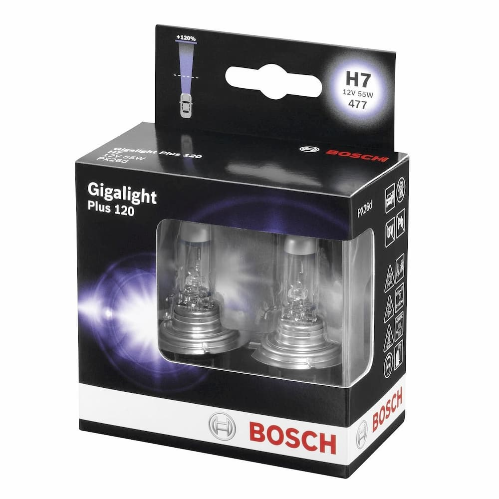 Лампа галогенная Bosch H7 Gigalight Plus 120 2 шт