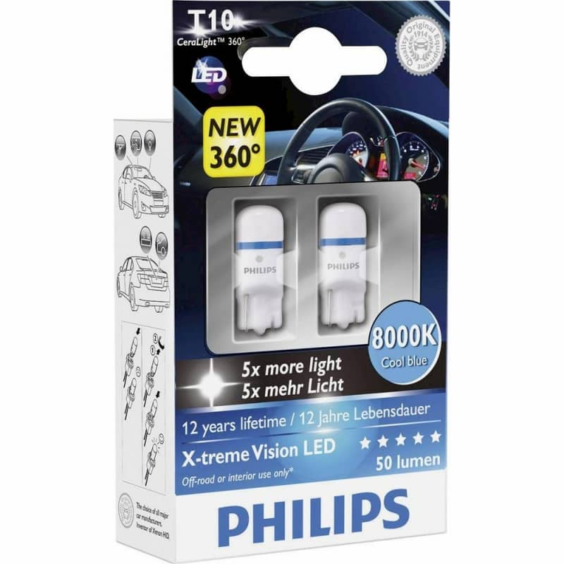 Лампа светодиодная Philips T10 X-tremeVision LED 2 шт