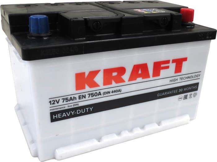Аккумулятор KRAFT KR75.0_euro 75 А/ч