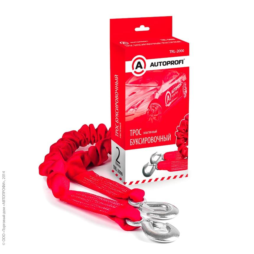 Трос буксировочный строп-лента эластичный Autoprofi 2т, 1.5-4м, 2 крюка