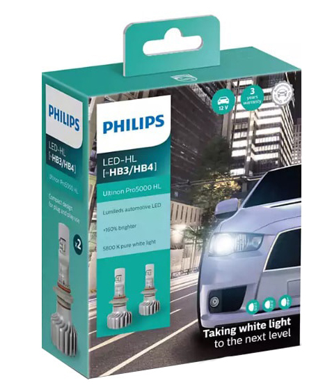 Лампа светодиодная Philips HB3/HB4 Ultinon Pro5000 HL 2шт